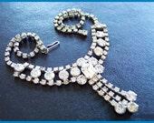 "Vintage Clear Rhinestone Fancy BIB Choker Necklace Art Deco Silver Metal 16"" EX"