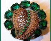 "Vintage Brooch or Pin w Oval Green Rhinestones & Filigree Gold Metal Open Back 1930s-40s 2"" VG"