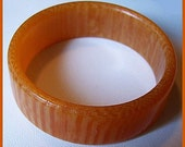 "Vintage Bakelite Bracelet Butterscotch Striped Color Bangle Band Style 1"" Wide EX"