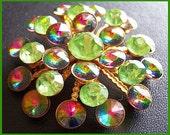 "Vintage Rhinestone Brooch Pin w Green Watermelon Rivoli Stones 2Tiered Cluster Gold Metal 2"" EX"
