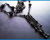 """Victorian Flapper Necklace w Black Jet or Glass Mourning Beads Hand Strung & Knotted 30"""" EX"""