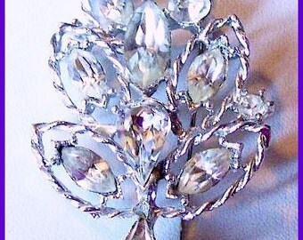 "Sparkly Rhinestone Fancy Silver Metal Leaf Flower Brooch or Pin 2 1/4"" Vintage"