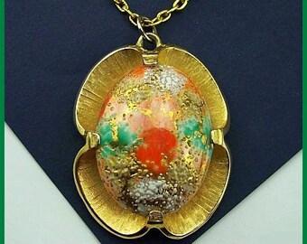 """Vintage JUDY LEE Necklace Pendant Green Orange Art Glass Gold Metal Easter Egg 24"""" VG"""