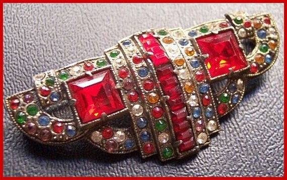 """Victorian 1900s Colorful Rhinestone Fruit Salad Silver Metal Brooch or Pin 2 1/4"""""""