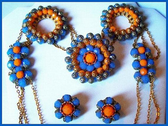 Vintage HUGE Tangerine & Blue Faceted Beads Gold Metal Necklace Earring Brooch Parure Set EX