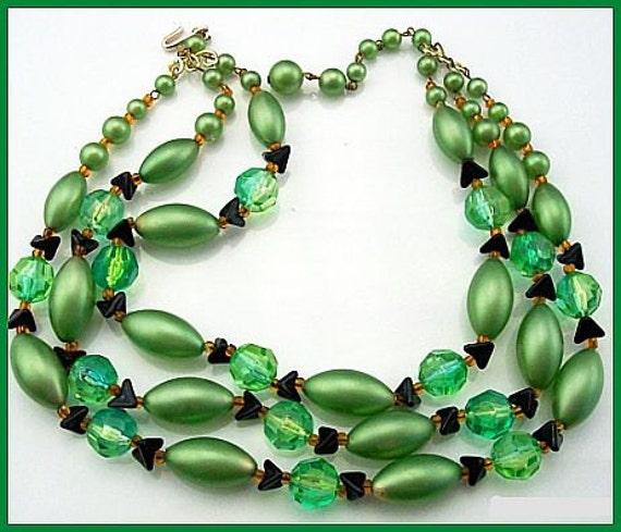 """Vintage Necklace Signed JAPAN Plastic Green Glass & Black Beads 3 Strand Gold Metal 16"""" VG"""