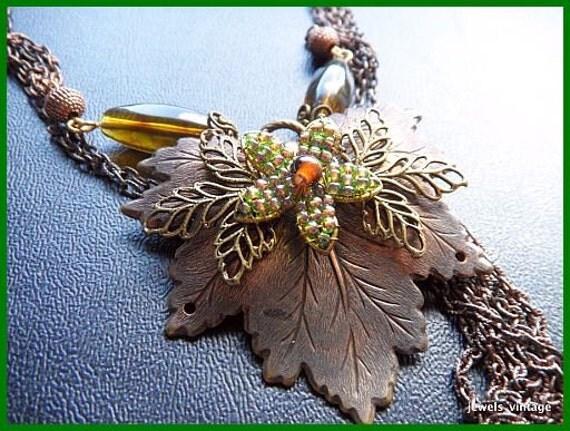 "Vintage Copper NECKLACE Chain & Dangle Flower Leaf Pendant w Green Rhinestones 20"" EX"