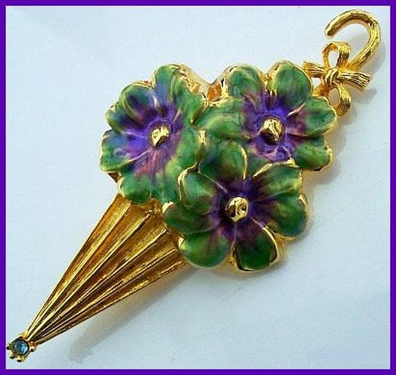 "Vintage Brooch Pin Signed GOLD CROWN Parasol Purple Enamel Flower Motif Gold Metal 4"" EX"