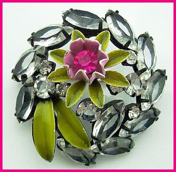 """D&E Juliana Brooch Pin Confirmed w Pink Rhinestones Painted Enamel Flower Motif Japanned 2"""" EX"""