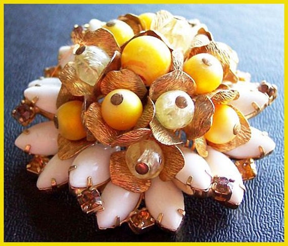 Vintage Miriam Haskell Tiered Cluster Brooch w Yellow Crystal Beads & Milk Glass Gold Metal EX CIJ Sale