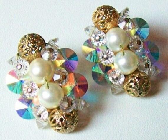 "Vintage Rivoli Rhinestone Pearl Gold Cage Bead & Crystal Clip On Earrings 1 1/4"""