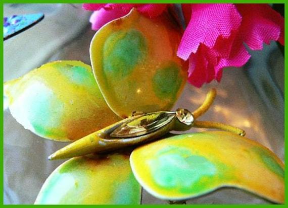"Vintage Butterfly Brooch Pin w Green Yellow Enamel & Yellow Rhinestones 1950s BIG 3"" VG"