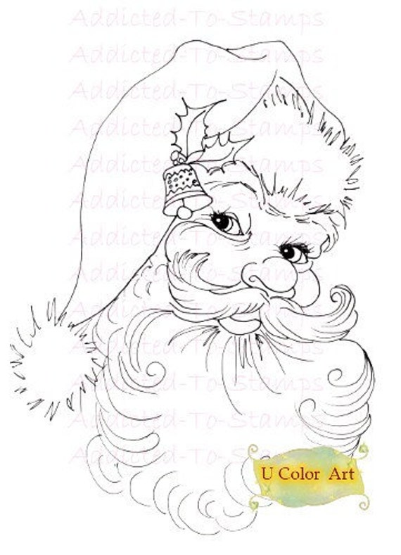 INSTANT DOWNLOAD Digi Doodle Stamp Vantige Santa  Sherri Baldy