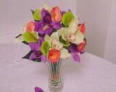 Tropical Bouquet of FLOWER PENS, Silk Flower Centerpiece, Flower Favors