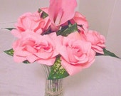 Pink Roses and Calla Lily FLOWER PENS, Silk Flower Bouquet, Artificial Flowers