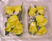 10 Yellow Rose Boutonnieres, Grooms Boutonniere, Silk Corsage, Tuxedo Flower