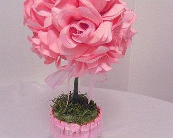 PINK ROSE TOPIARY Centerpiece // Silk Flower Arrangement