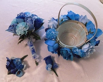 4 Pc Wedding Bouquet, Blue Bridal Bouquet Package, Silk Flowers, Destination Wedding, Floral Bouquet