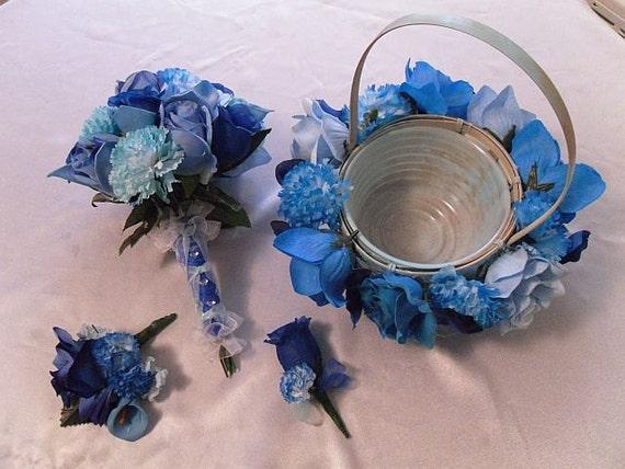4 Pc Wedding Bouquet, Blue Bridal Bouquet Package, Silk Flowers, Destination Wedding, Floral Bouquet