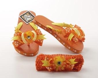 Tangerine Girls Flip Flops-Girl Flip Flops- Girl Sandals- Decorated Flip Flops- Orange