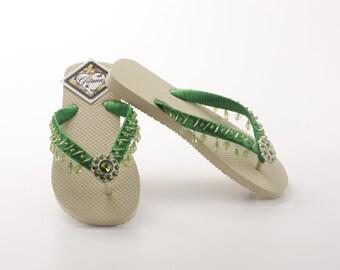 Women flip Flops-women sandal-green sandal-green flip flops-bridal flip flops-green