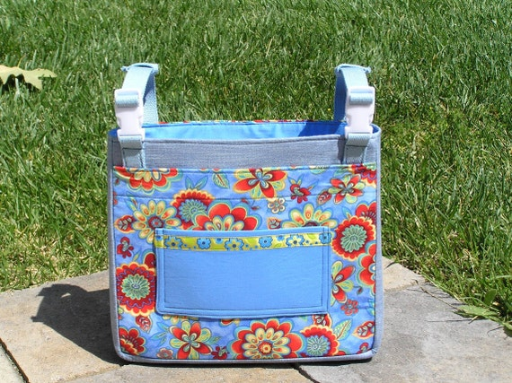 Walker or Wheelchair Tote Bag- Spring Flowers with an iPad or Kindle or Magazine Pocket
