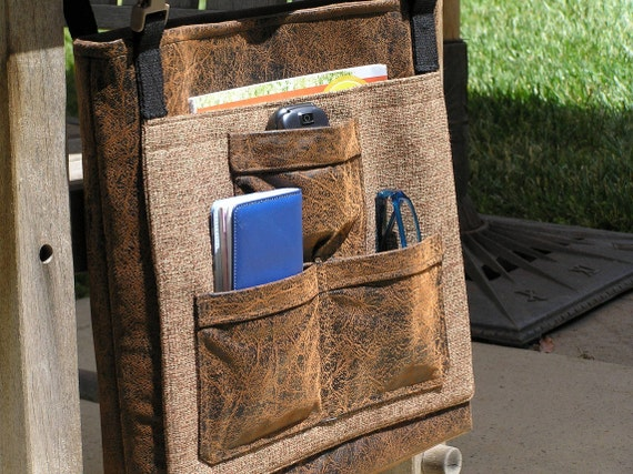 Men's Walker or Wheelchair Tote in Distressed Faux Leather with iPad or Kindle pocket