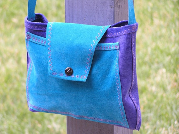 Clearance Sale! Suede Crossbody Pouch in Turquoise & Royal Sapphire