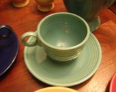 Vintage Fiestaware Turquoise Teacup and Saucer, Original 6 Color Vintage Turquoise