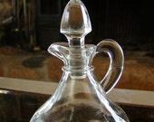 Bottle and Stopper Vintage Glass Oil Cruet