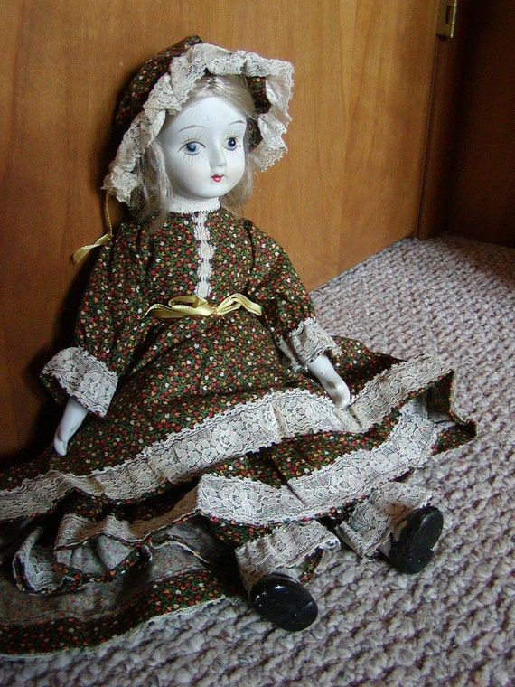 Porcelain Doll, Vintage Doll Walda Bisque and Cloth Doll