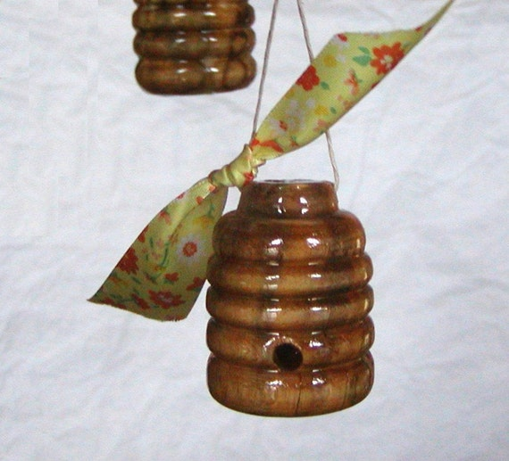 Honey Bee Skep Hive Yellow Floral Ribbon, NC Sourwood Skep with a Simply Tied Ribbon