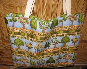 Tote, large tote, market bag, grocery tote, recycle, trees, library bag, green, workout bag