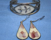 9. Alpaca Silver Bracelet and pierced Earrings with Shell Inlay from Mexico