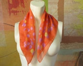 MOTHERS DAY )( Silk Orange Scarf)( Geometric Design )( Vintage )( Free Shipping usa