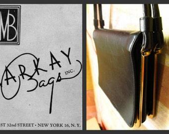VINTAGE VINYL )( 40s 50s Markay Bag Handbag )( Accordian Purse