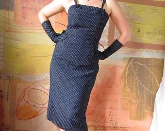PERFECT SUMMER DRESS Vintage 80s does the 40s )( April Rain )( Navy Blue Polka Dots )( Medium