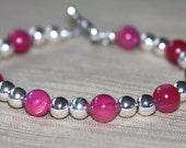 Silver and Fushia Bracelet Beaded, Pink, Raspberry Bracelet, Stack Bracelet
