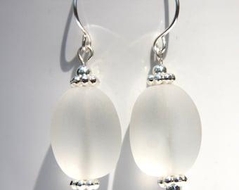 Earrings Seaglass,Clear Frosted,Beach Glass Earrings