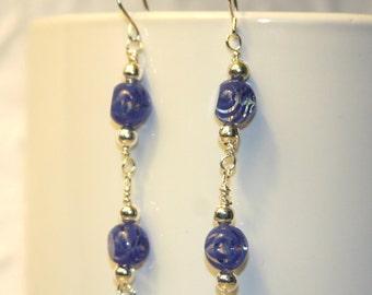 Dangle Earrings,Blue Czech Glass, Wire Wrapped, Sterling Silver,Long