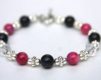 Raspberry and Navy Blue Silver Bracelet, Beaded Silver Bracelet,SALE