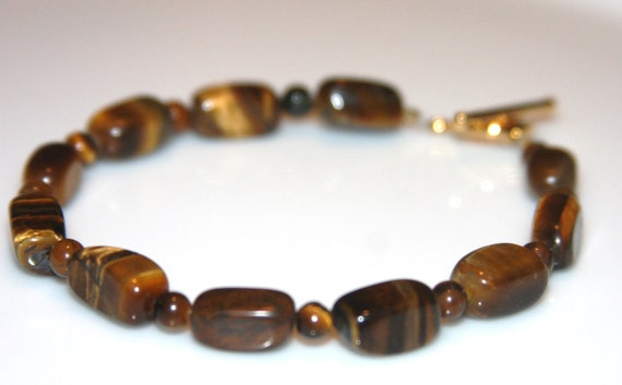 Tiger Eye Bracelet, Yellow,Brown,Gold 14K