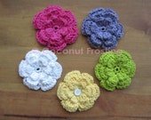 Crochet, any color, 3-LAYER FLOWER applique / hairclip accessory - customer FAVORITE