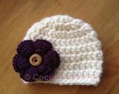 Crochet CHUNKY YARN beanie hat w/ 3-layer flower - customer FAVORITE - baby, toddler, child, teen & adult