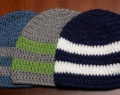 Crochet CLASSIC UNISEX 2-STRIPE beanie hat - baby, toddler, child, teen & adult