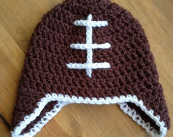 Crochet VINTAGE STYLE FOOTBALL beanie hat photo prop - baby, toddler, child, teen & adult