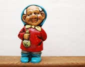 Old Man Gnome Bank or Figurine with Money Bag