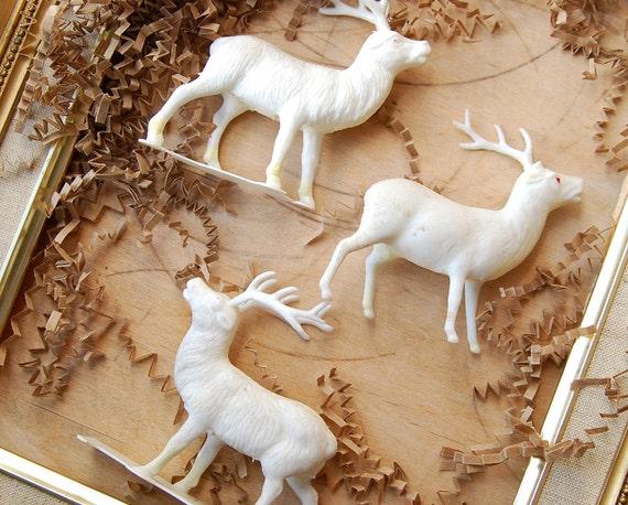 Christmas Sale3 White Plastic Celluloid Reindeer Christmas Decor 1950s