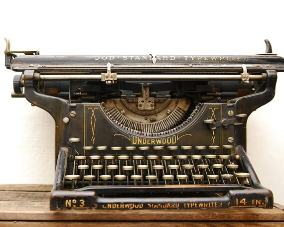 RESERVED SALE Antique Underwood Standard Typewriter Model No. 3