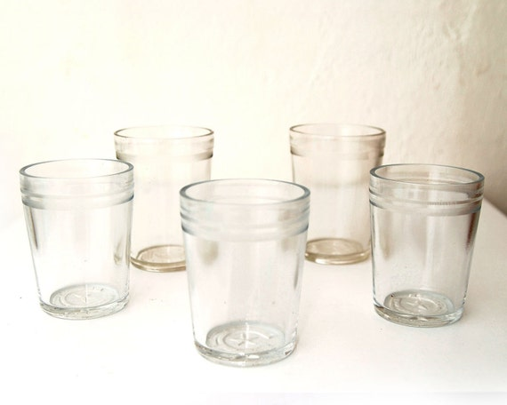 SALE Glass Jelly Tumblers with Star & Horseshoe Embossed on the Bottom